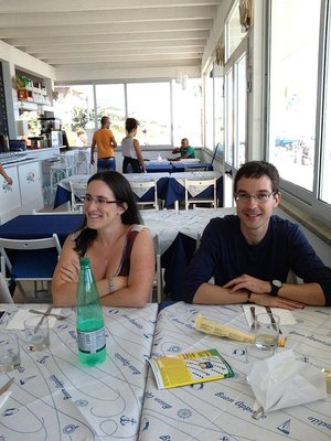 Florence and Cedric at the restaurant in Torvaianica